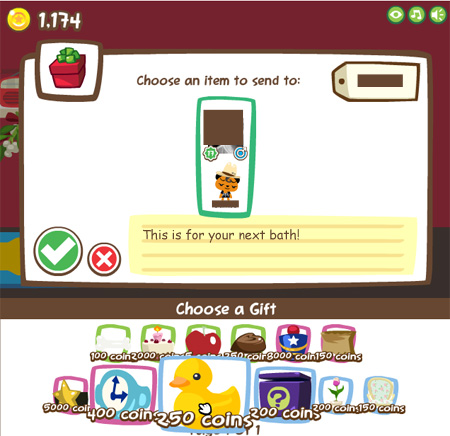 Sending a rubber ducky in Pet Society