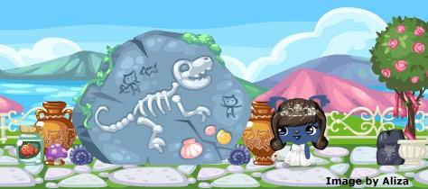 Dinosaur skeleton Treasure Hunt in Pet Society