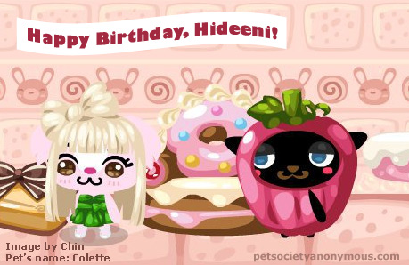 hideeni birthday in pet society