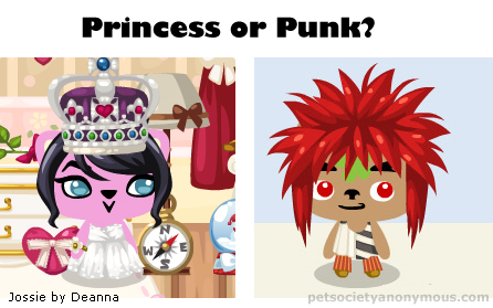 princess or punk in pet society